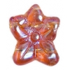 Glass Bead Flower 12x14mm Transparent Topaz Aurora Borealis - Strung